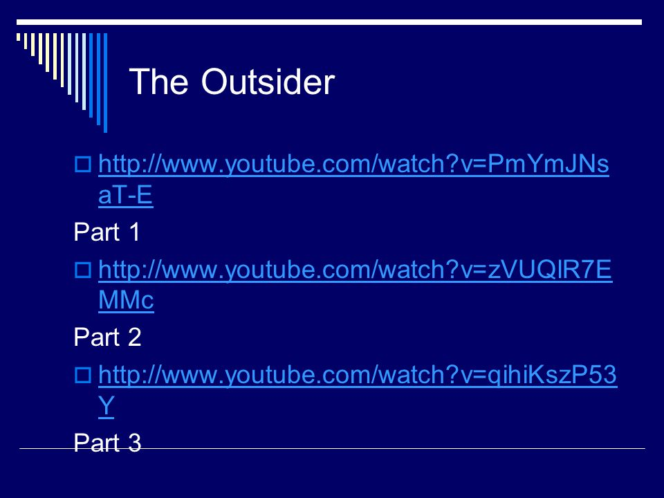 The Outsider   v=PmYmJNsaT-E Part 1