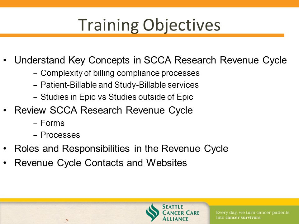 SCCA Research Revenue Cycle From Set Up to Invoice Orientation for ...