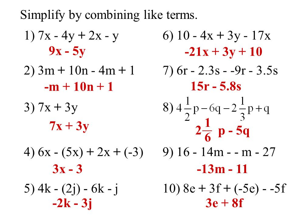 Objective - To combine like terms to simplify expressions ...