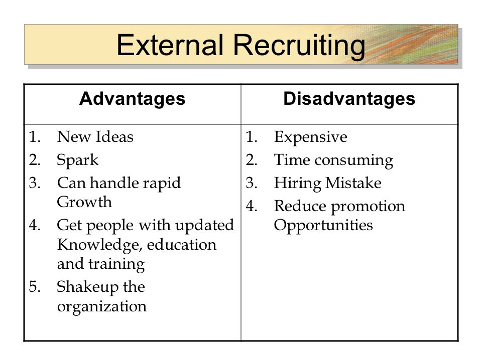 advantages and disadvantages of both internal and external recruitment Internal recruiting or external recruiting which one is better and turns out to be   in both internal and external recruitment advantages and disadvantages are.