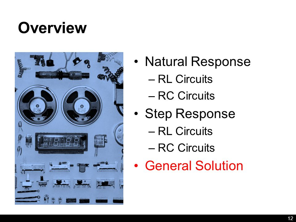 Overview Natural Response Step Response General Solution RL Circuits