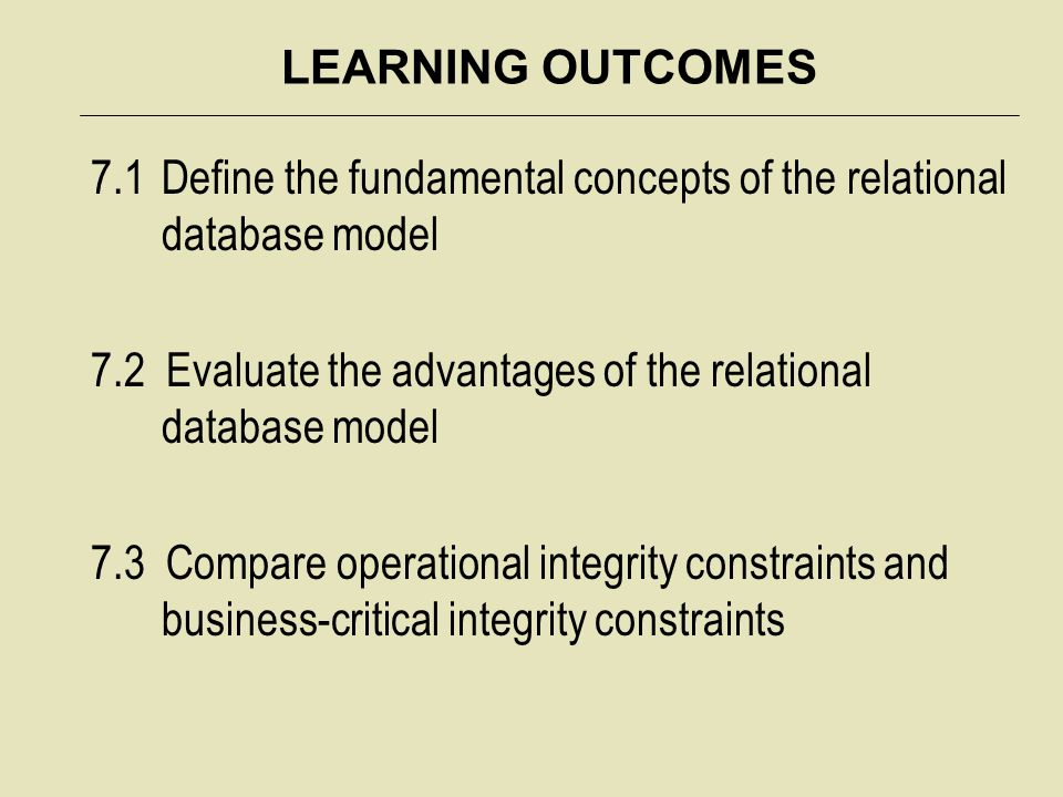 LEARNING OUTCOMES 7.1 Define the fundamental concepts of the relational database model.