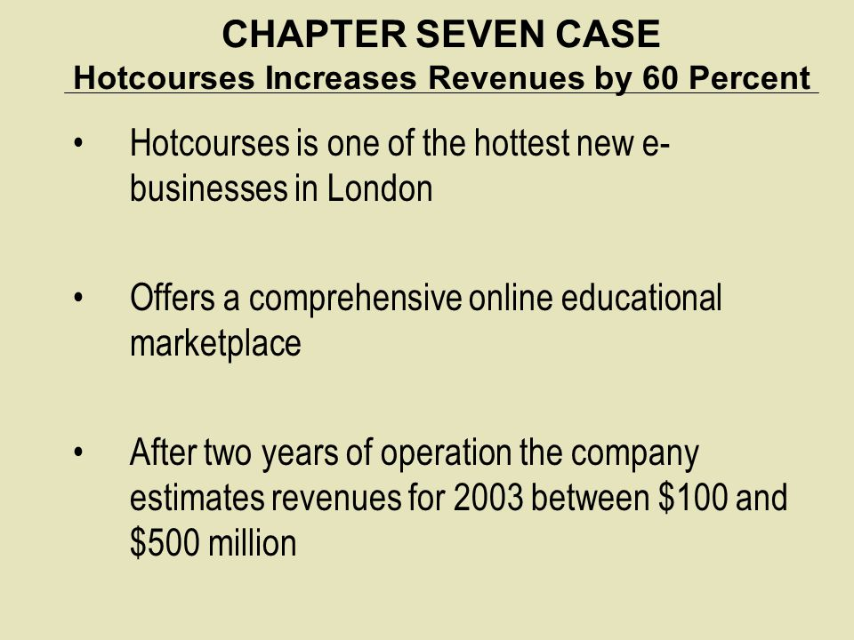 CHAPTER SEVEN CASE Hotcourses Increases Revenues by 60 Percent