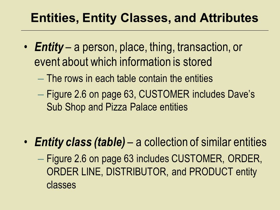 Entities, Entity Classes, and Attributes