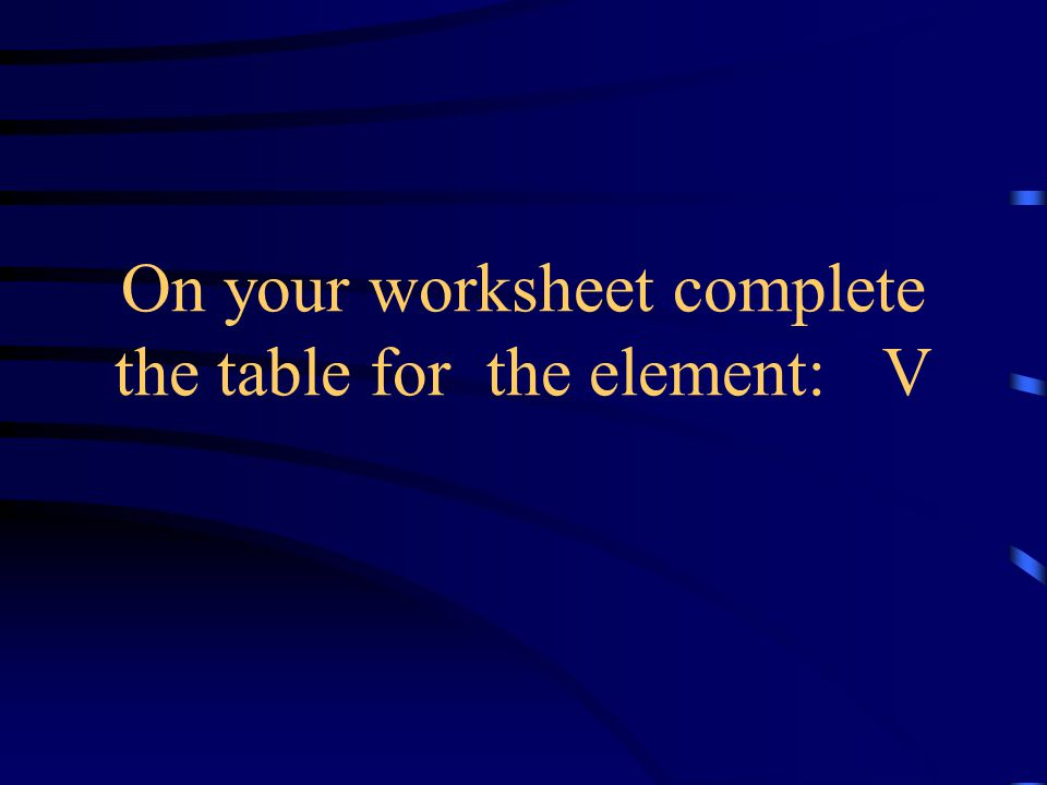 On your worksheet complete the table for the element: V