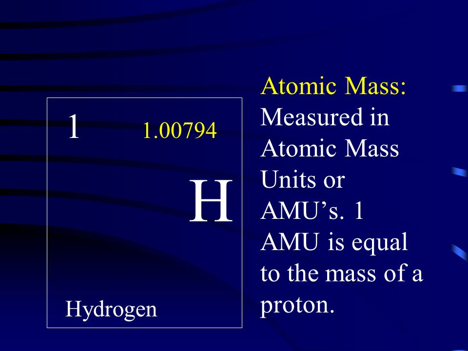 Atomic Mass: Measured in Atomic Mass Units or AMU's