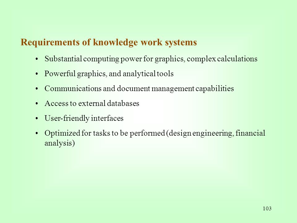 Requirements of knowledge work systems