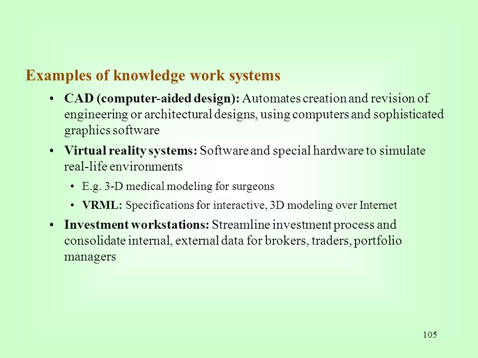 Examples of knowledge work systems