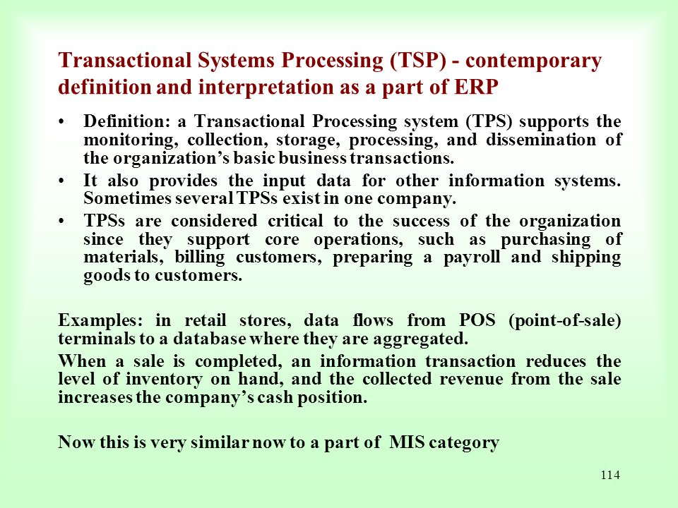 Transactional Systems Processing (TSP) - contemporary definition and interpretation as a part of ERP