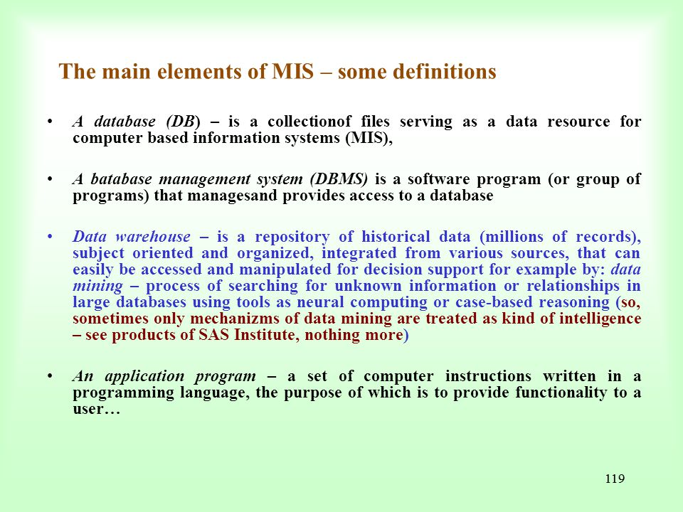 The main elements of MIS – some definitions