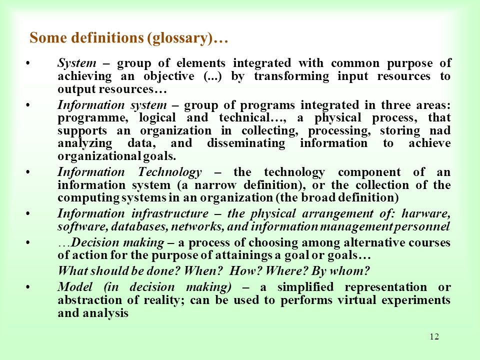 Some definitions (glossary)…
