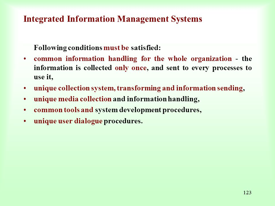 Integrated Information Management Systems