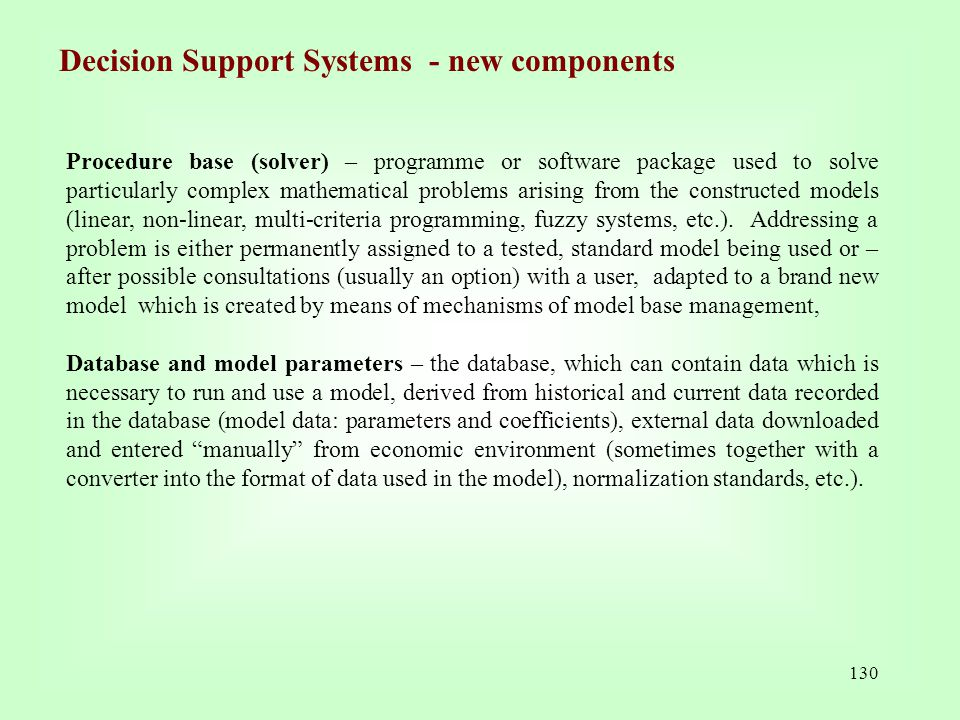 Decision Support Systems - new components