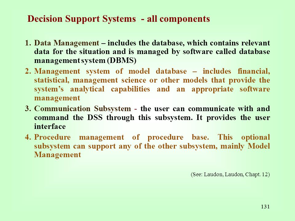 Decision Support Systems - all components