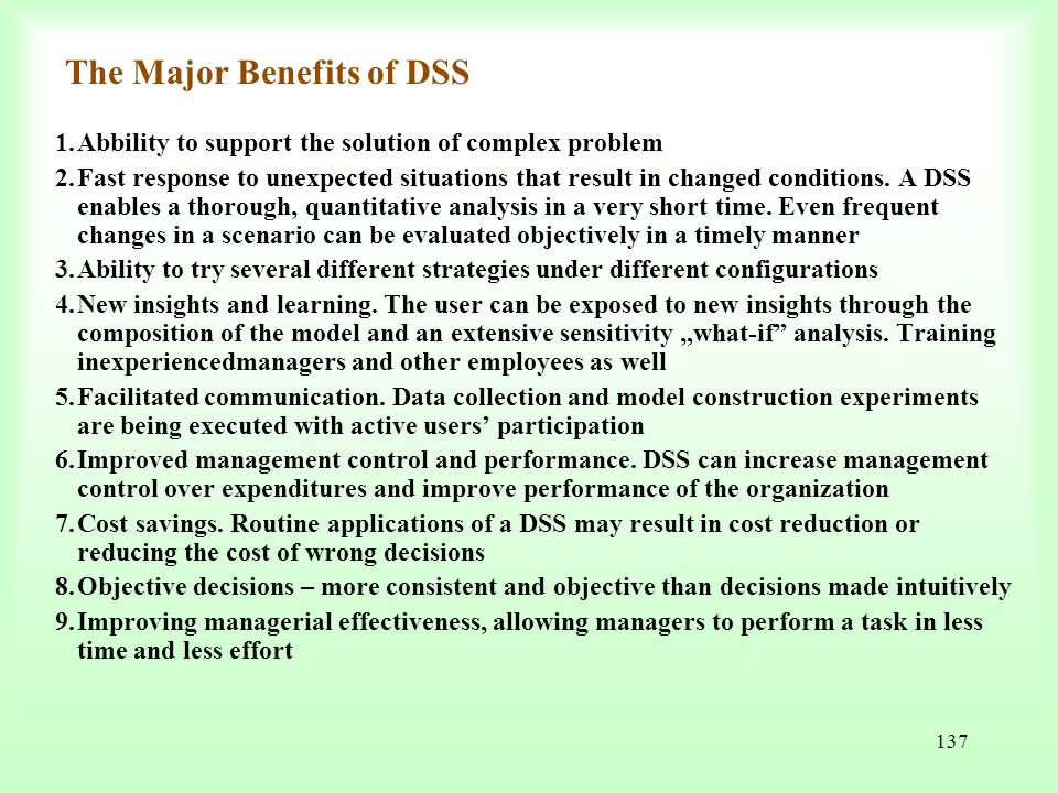 The Major Benefits of DSS