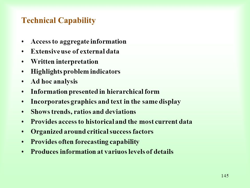 Technical Capability Access to aggregate information