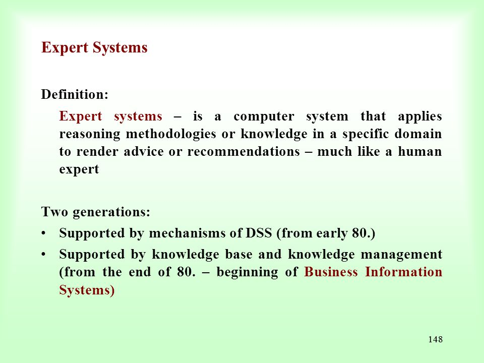 Expert Systems Definition: