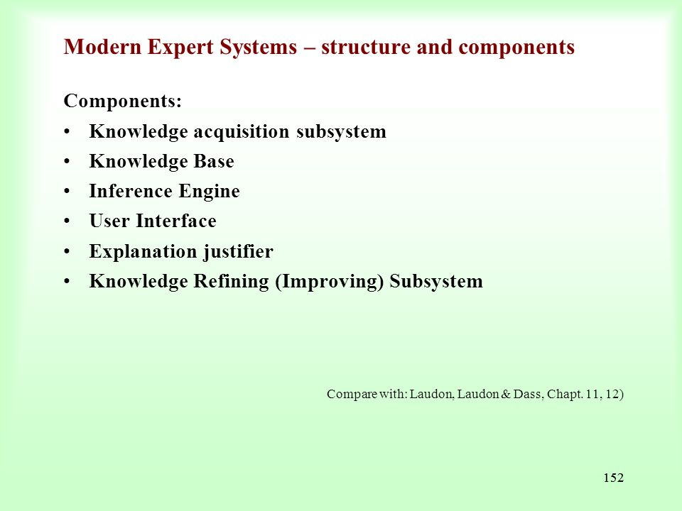 Modern Expert Systems – structure and components