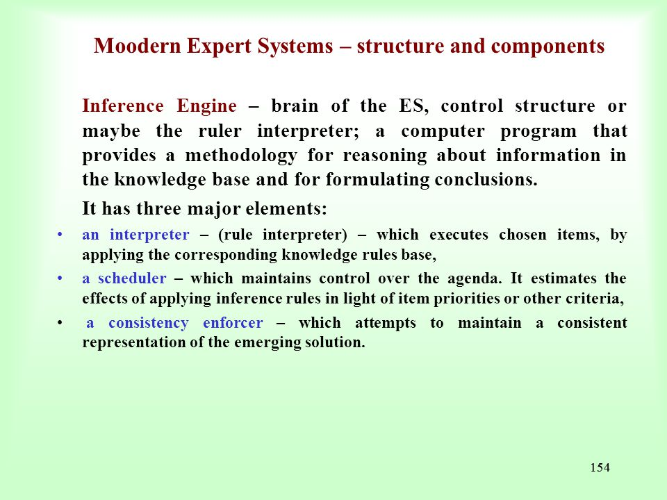 Moodern Expert Systems – structure and components