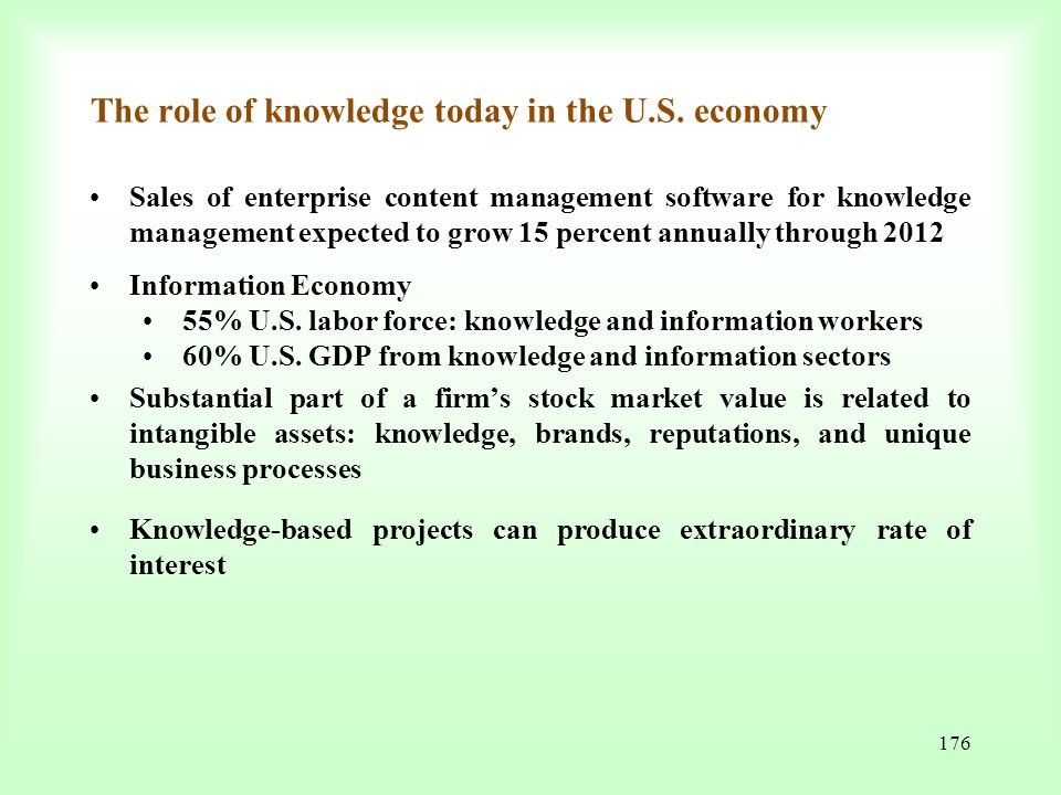 The role of knowledge today in the U.S. economy