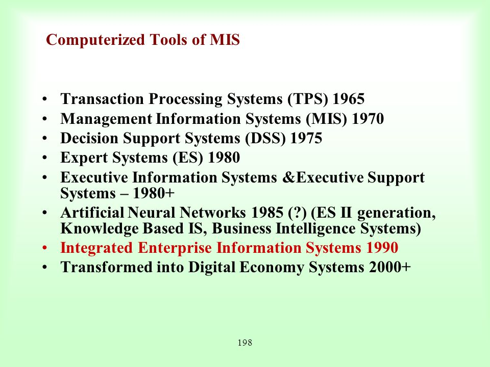 Computerized Tools of MIS