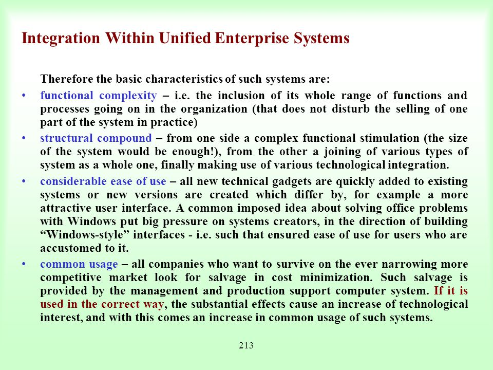 Integration Within Unified Enterprise Systems