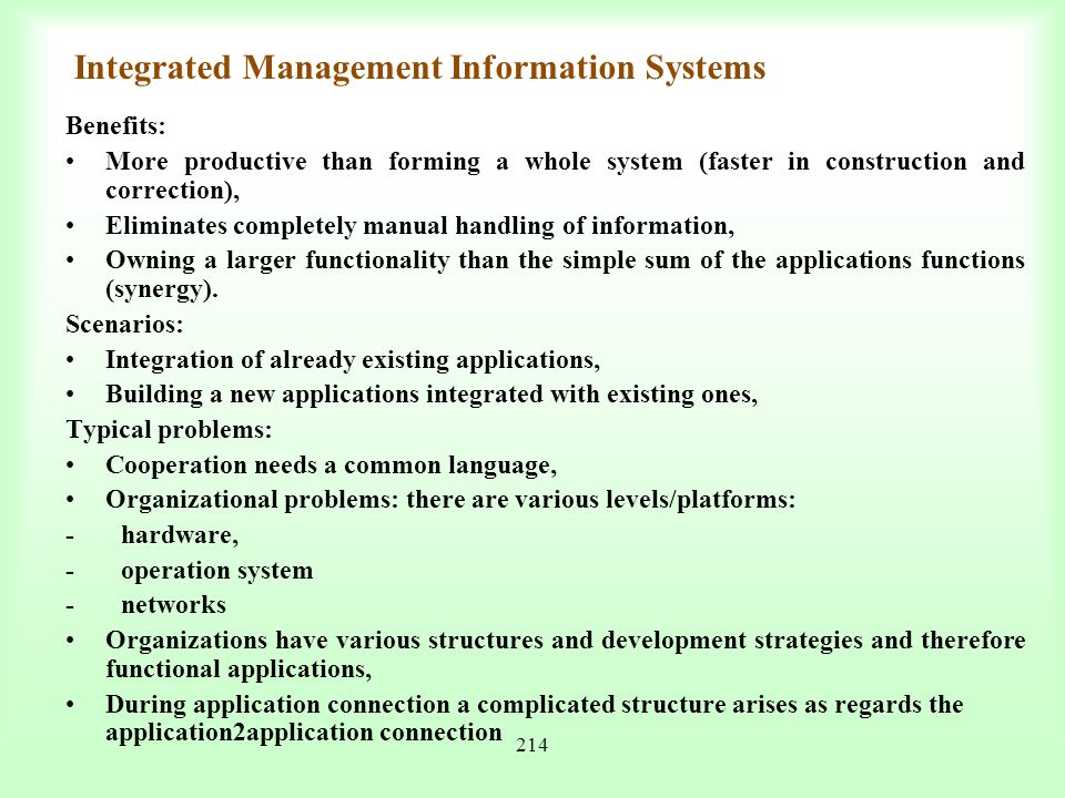 Integrated Management Information Systems