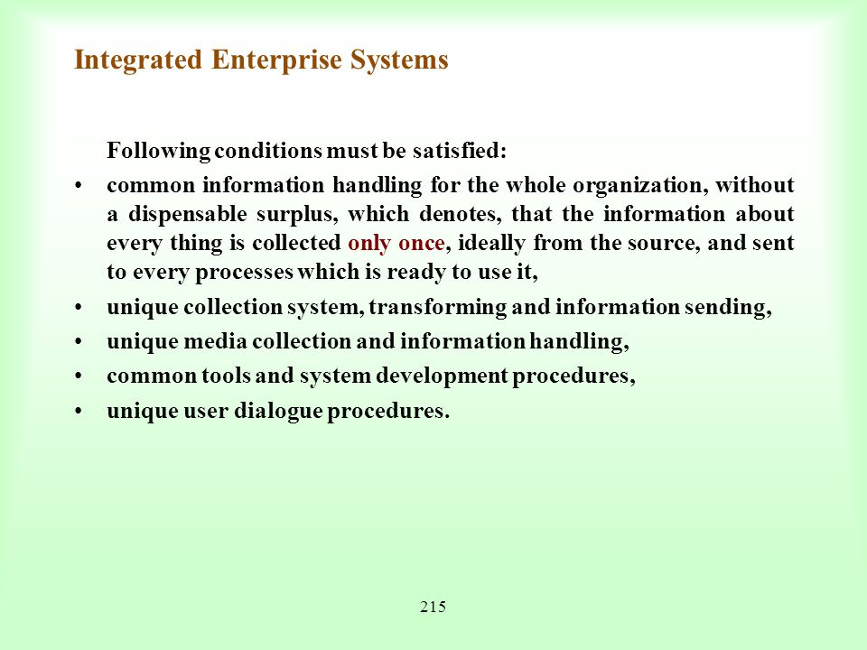 Integrated Enterprise Systems