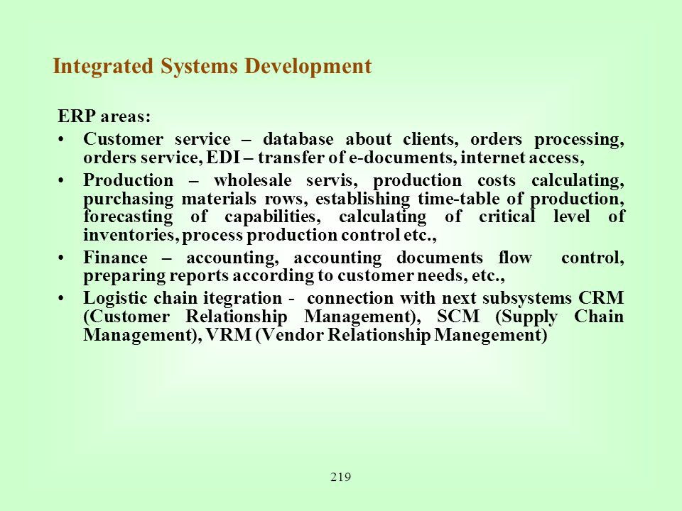 Integrated Systems Development