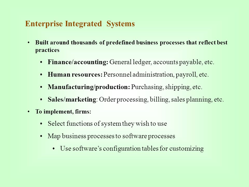 Enterprise Integrated Systems