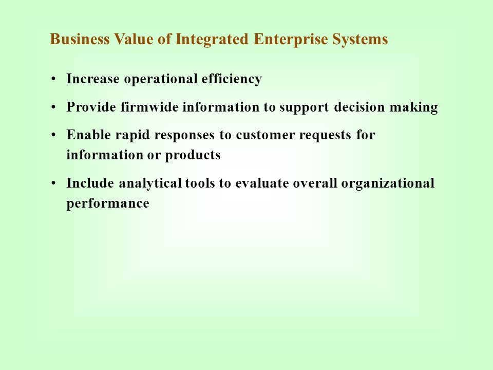 Business Value of Integrated Enterprise Systems