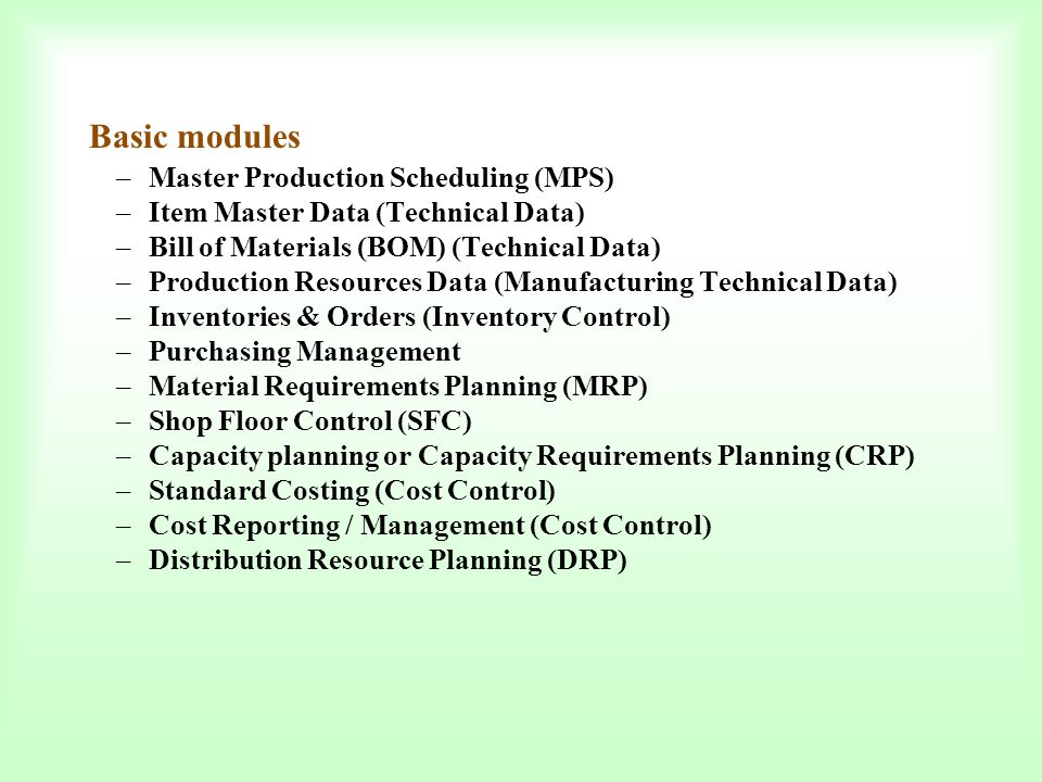 Basic modules Master Production Scheduling (MPS)