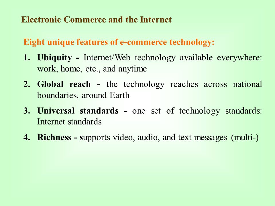 Electronic Commerce and the Internet