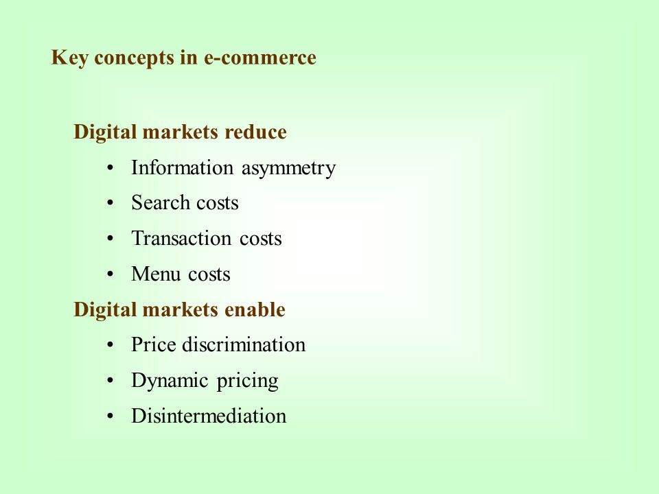 Key concepts in e-commerce