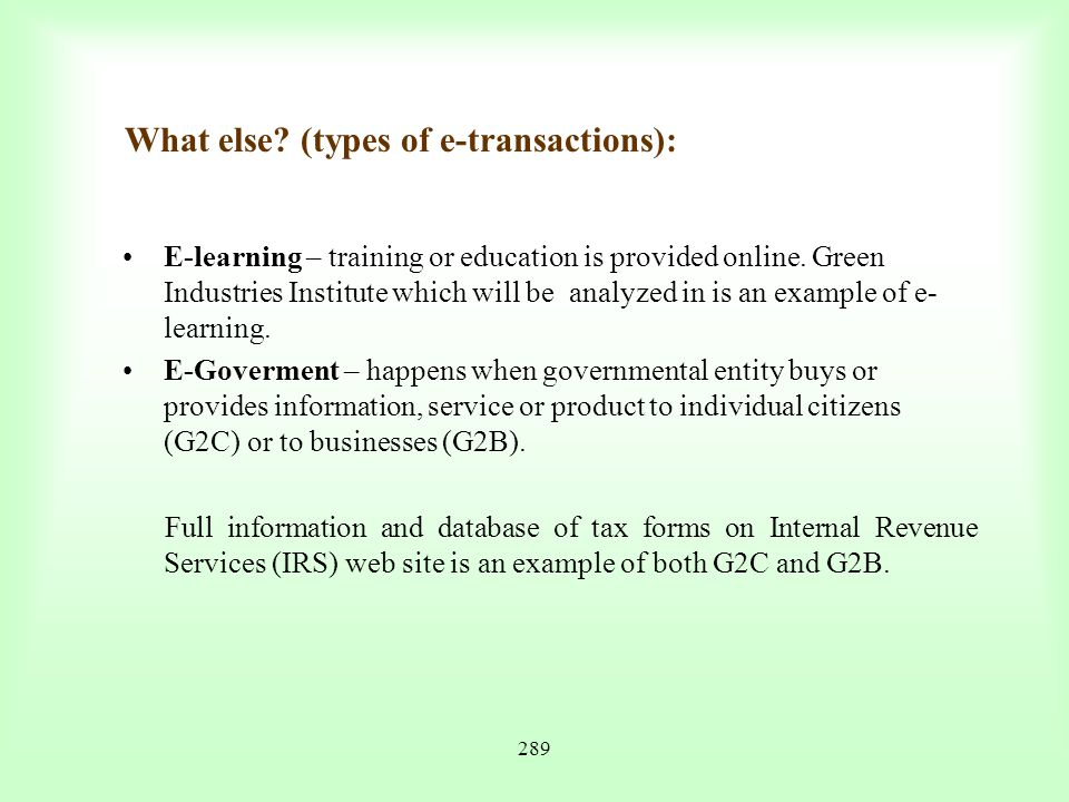 What else (types of e-transactions):