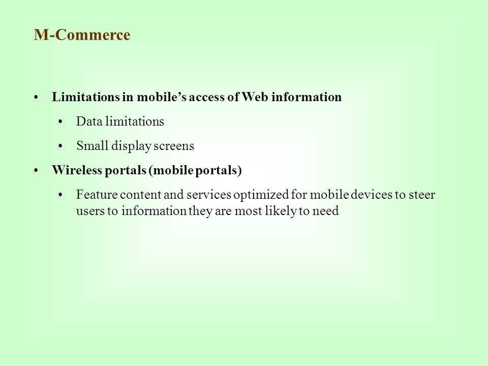 M-Commerce Limitations in mobile's access of Web information