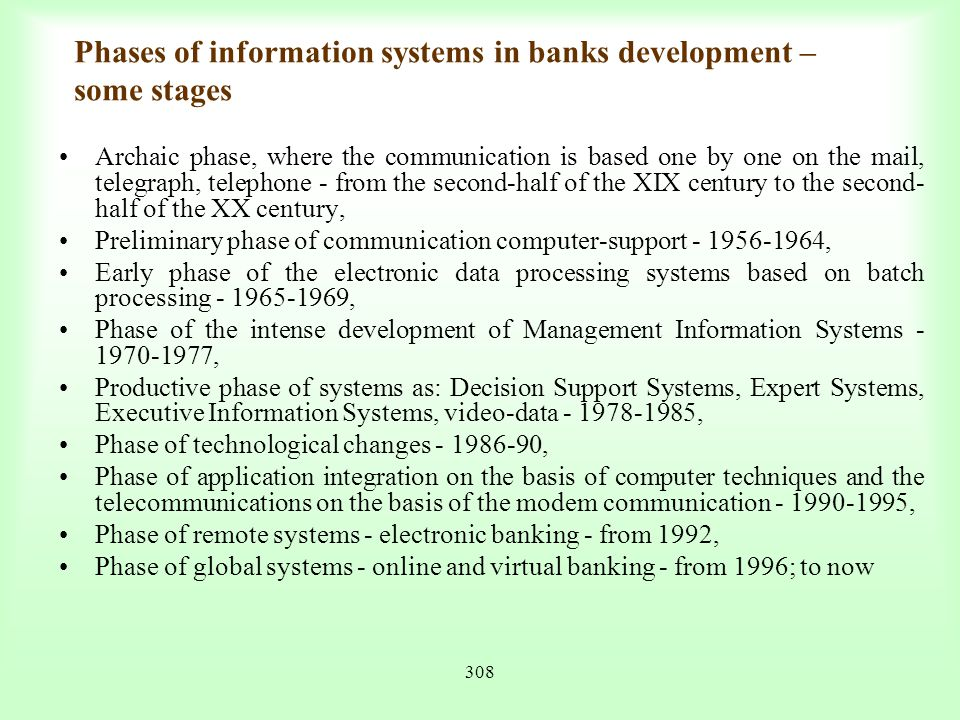 Phases of information systems in banks development – some stages