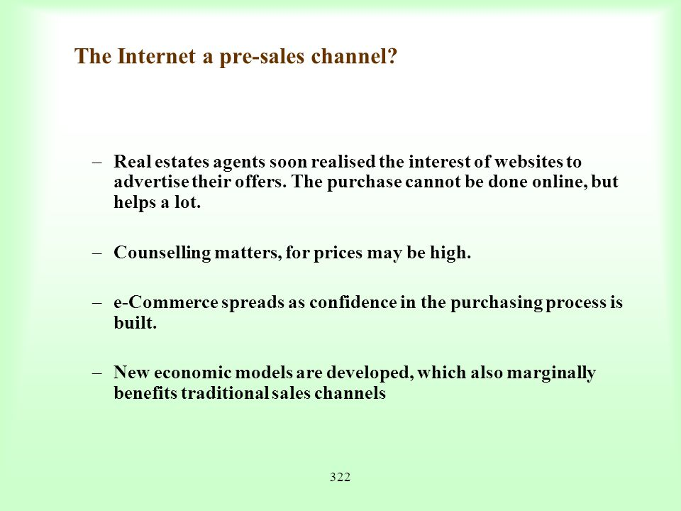 The Internet a pre-sales channel