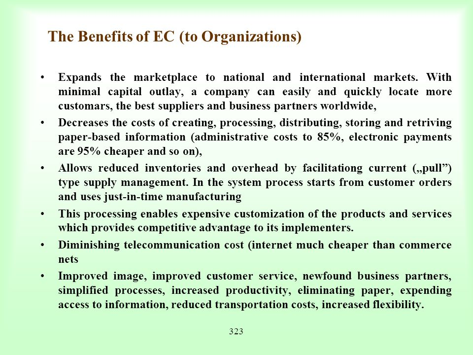 The Benefits of EC (to Organizations)