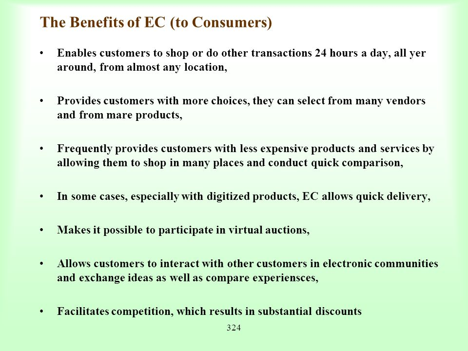 The Benefits of EC (to Consumers)