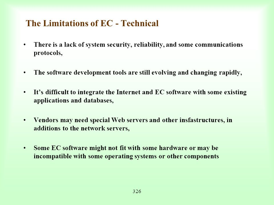 The Limitations of EC - Technical
