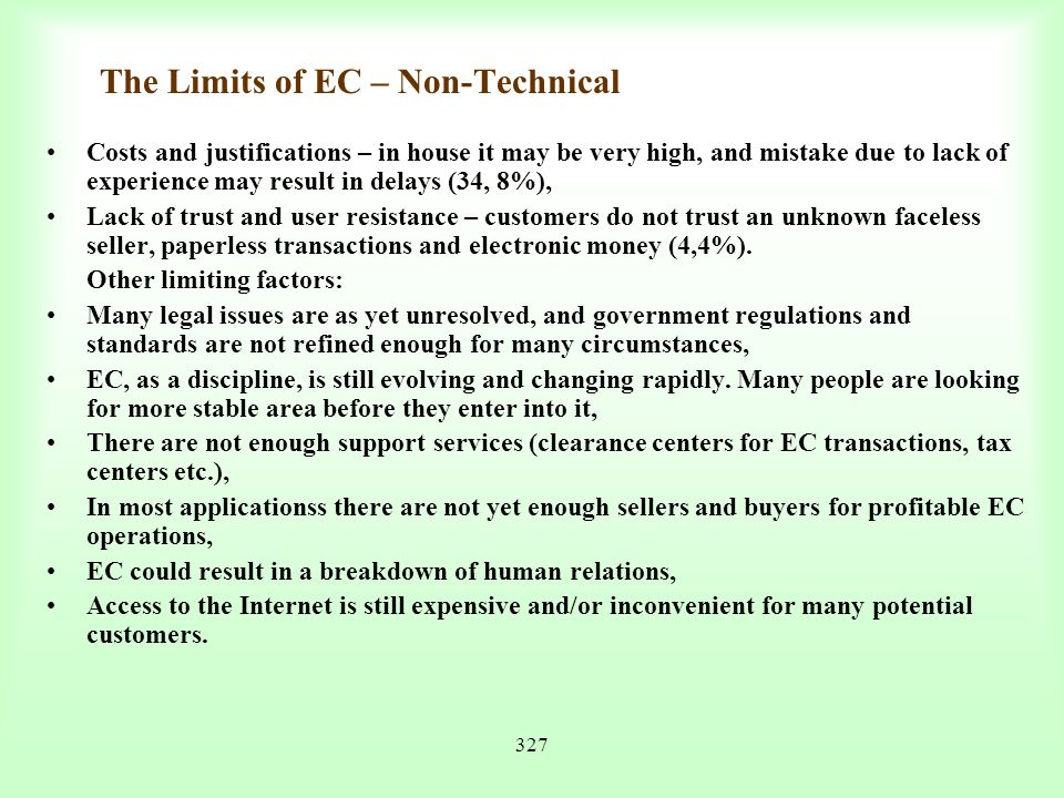 The Limits of EC – Non-Technical
