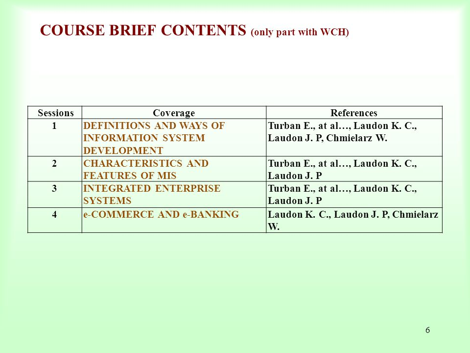 COURSE BRIEF CONTENTS (only part with WCH)