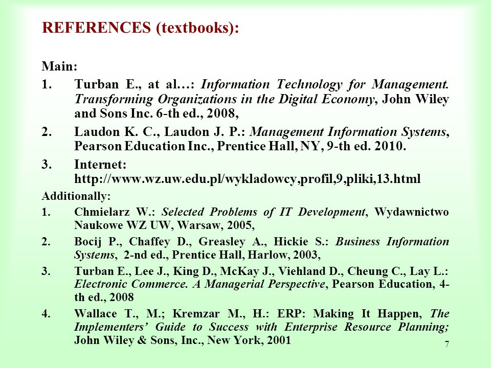REFERENCES (textbooks):