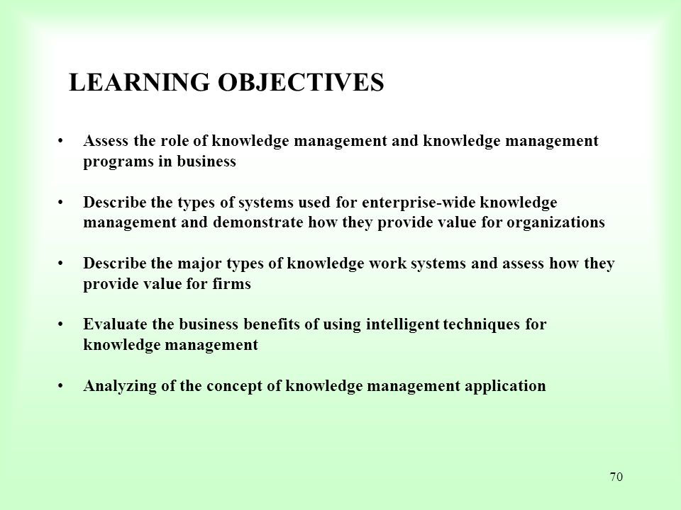 LEARNING OBJECTIVES Assess the role of knowledge management and knowledge management programs in business.