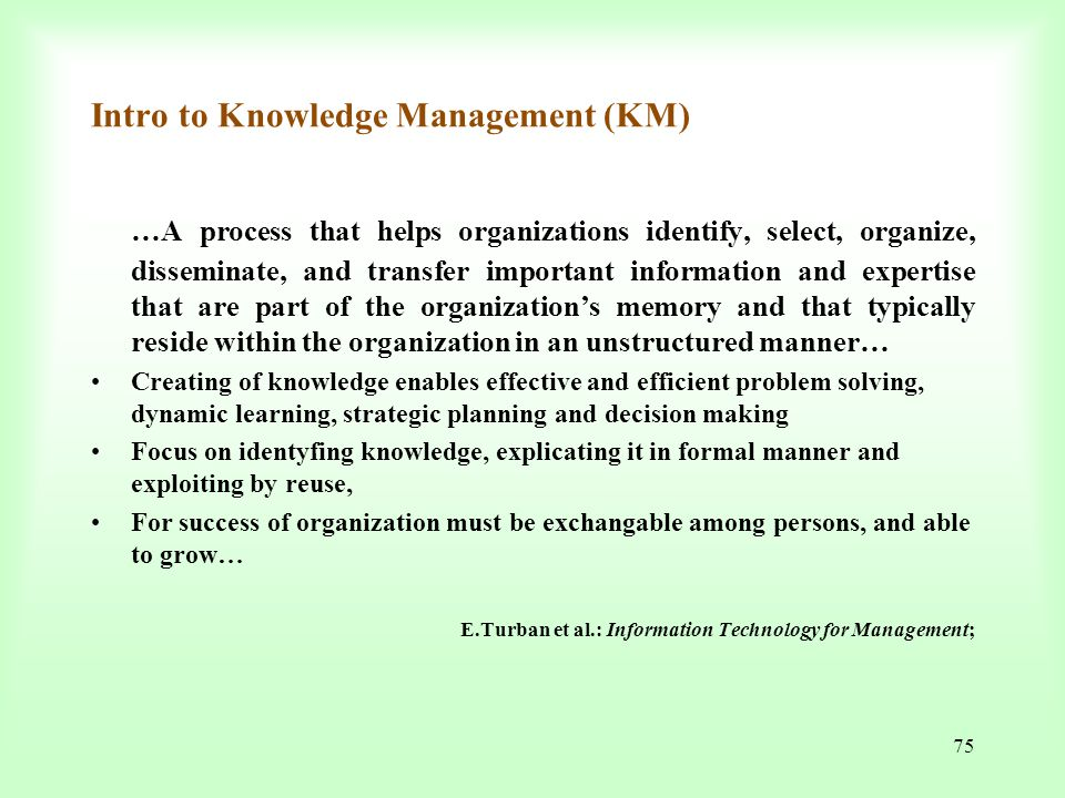 Intro to Knowledge Management (KM)