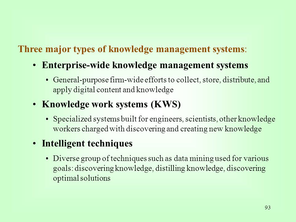 Three major types of knowledge management systems: