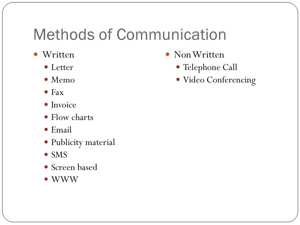 non electronic methods of communication
