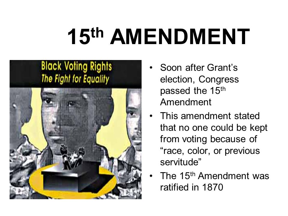15th amendment opinions There was no majority opinion the amendment did not attempt to explain any other portions of article iii because the state-citizen diversity provisions of.