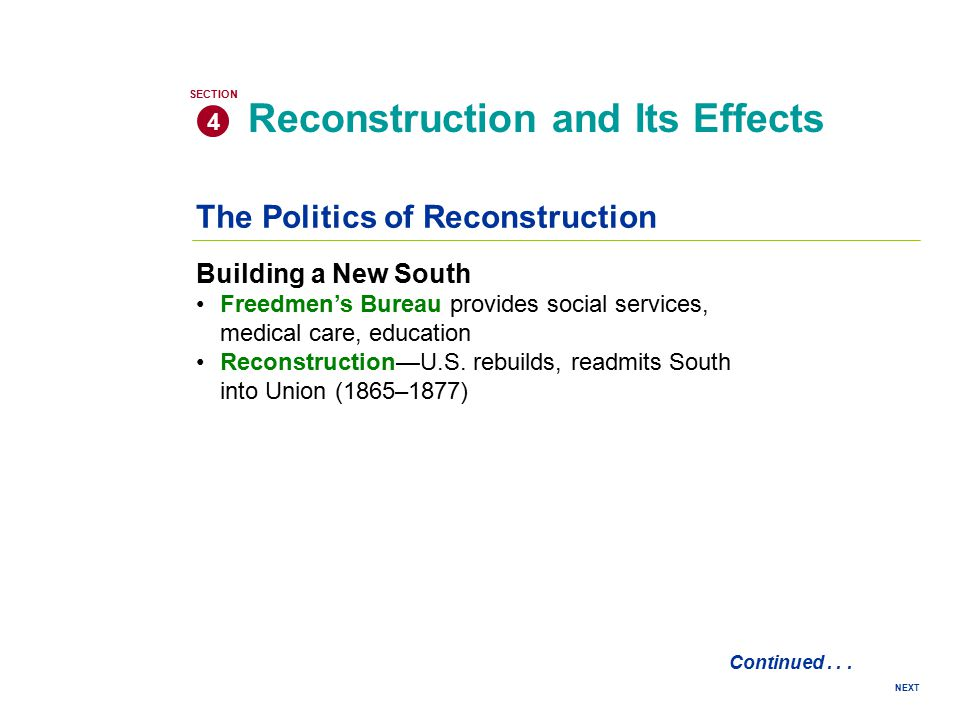 reconstruction effects Reconstruction: reconstruction, the period (1865-77) after the american civil war during which attempts were made to redress the inequities of slavery and its political, social, and economic legacy and to solve the problems arising from the readmission to the union of the 11 states that had seceded.